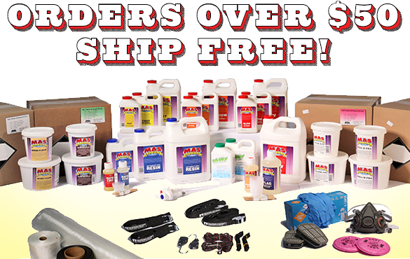 Except for kits, plywood, and lumber, EVERYTHING in the store ships FREE when your order total reaches $50. That includes big and bulky items like trailer kits, epoxy kits, oars, drop-in rowing units, and more!