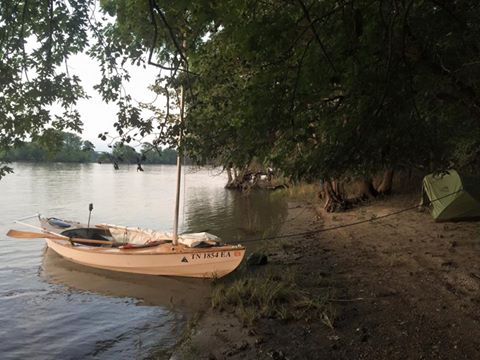 John Guider's Skerry at rest on the riverbank