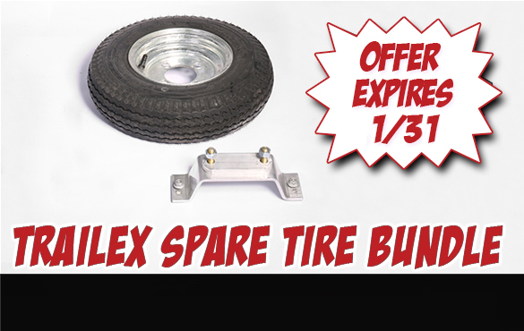 Order a Trailex SUT Trailer through January 31st and we'll include a spare tire and spare tire carrier for FREE! Save up to $142