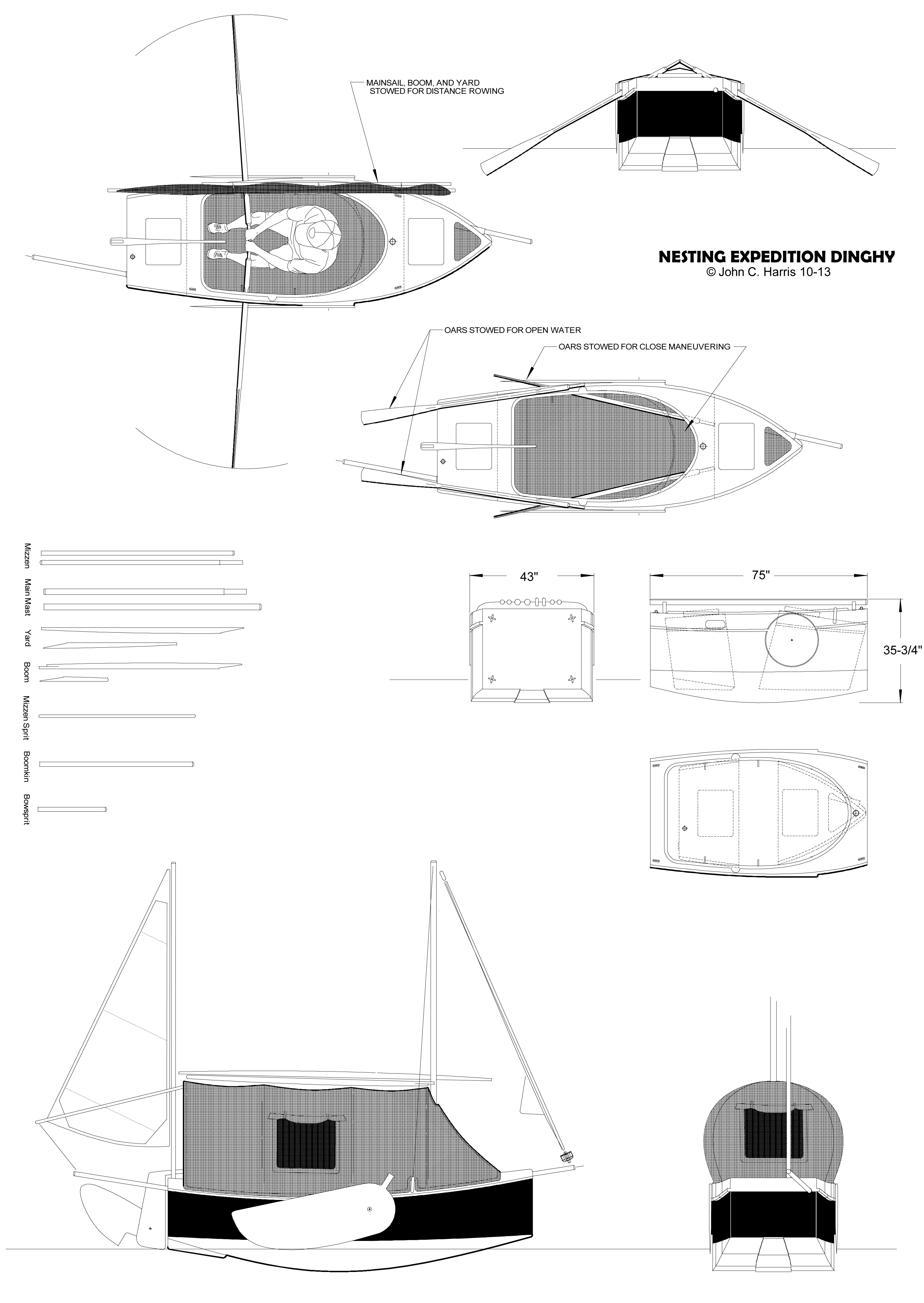 Nesting Expedition Dinghy:  Beach Cruiser for Amateur Boatbuilders by John C. Harris and Chesapeake Light Craft
