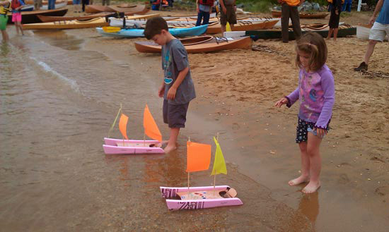 Launching Kids Boats at OkoumeFest