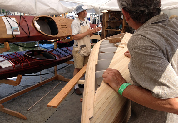 Nick Schade's new Strip-Planked Canoe at the WoodenBoat Show