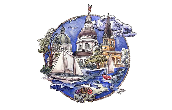 City of Annapolis Sailing & Architecture Print or Notecards