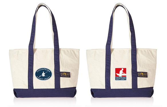 Canvas Travel Tote, Navy Blue Trim