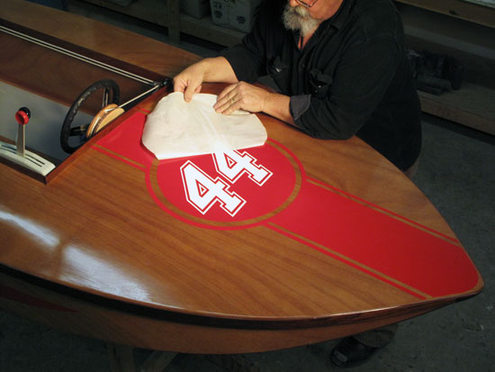 Custom Vinyl Boat Lettering - Red