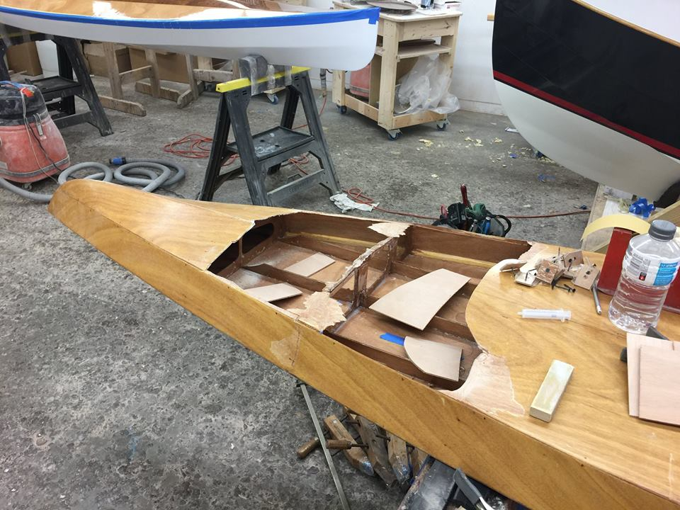 Epoxying the frame, clean up edges