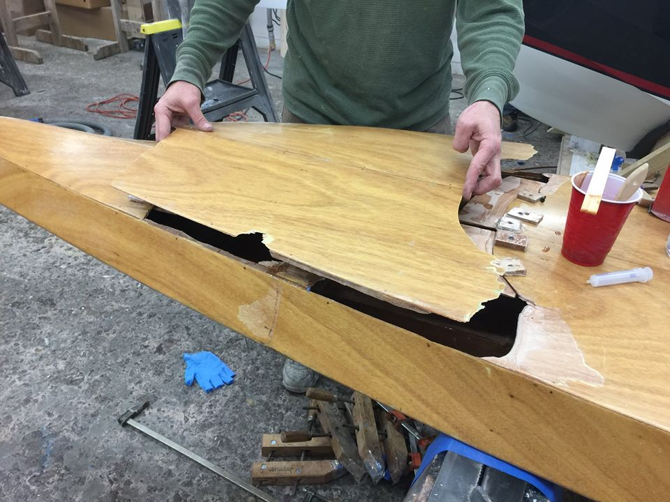 Aligning the broken piece to the hole